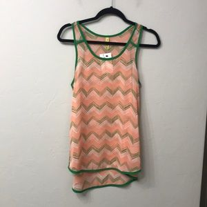 Final touch coral subtle chevron scoop tank. S NWT